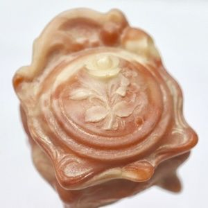 Rare Rose Flower Carved Small Ring Jewelry Box